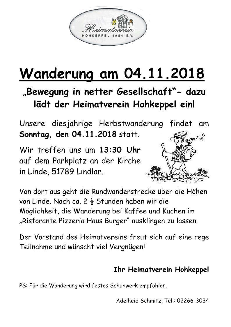 Herbstwanderung Heimatverein Hohkeppel 1954 Ev